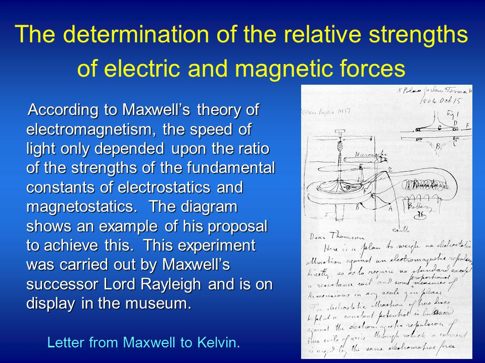 According to Maxwell's theory of electromagnetism, the speed of light only depended upon the ratio of the strengths of the fundamental constants of electrostatics and magnetostatics.