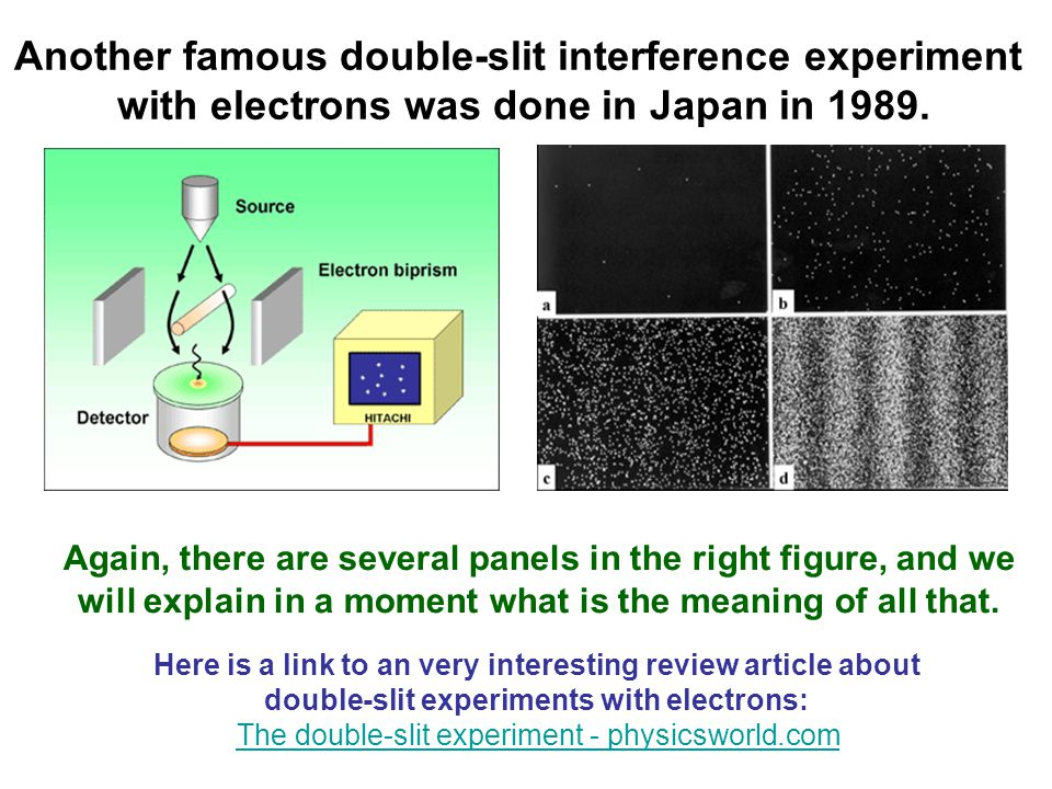 Another famous double-slit interference experiment with electrons was done in Japan in 1989.