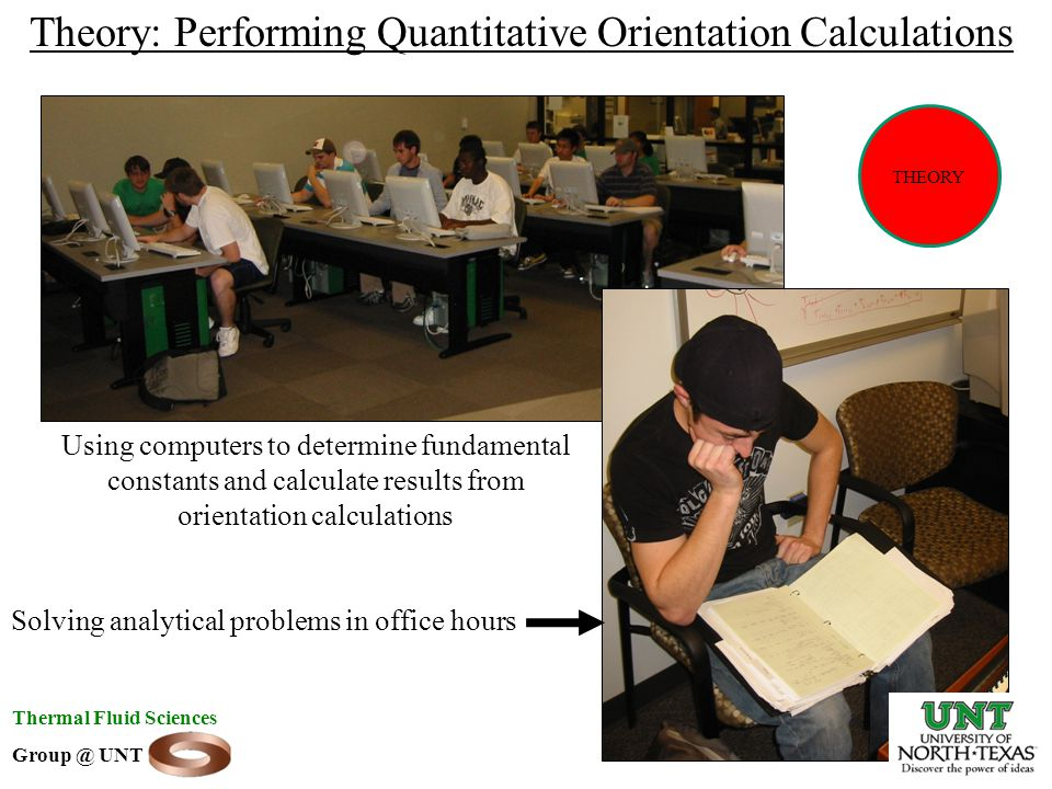 Theory: Performing Quantitative Orientation Calculations Using computers to determine fundamental constants and calculate results from orientation calculations Solving analytical problems in office hours Thermal Fluid Sciences Group @ UNT THEORY