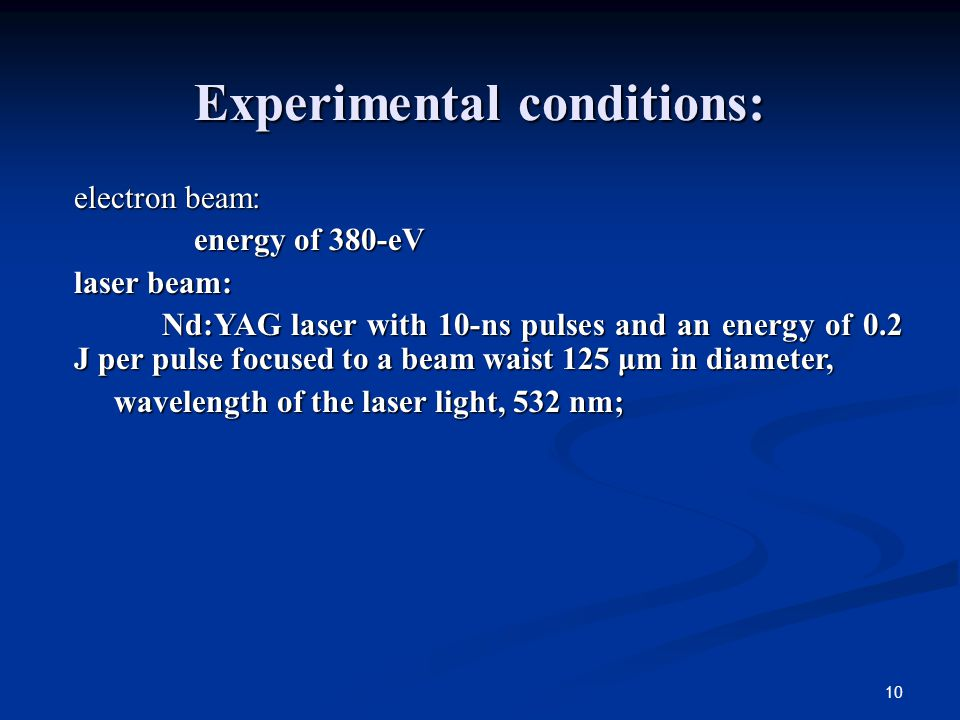 10 Experimental conditions: electron beam: energy of 380-eV energy of 380-eV laser beam: Nd:YAG laser with 10-ns pulses and an energy of 0.2 J per pulse focused to a beam waist 125 μm in diameter, Nd:YAG laser with 10-ns pulses and an energy of 0.2 J per pulse focused to a beam waist 125 μm in diameter, wavelength of the laser light, 532 nm; wavelength of the laser light, 532 nm;