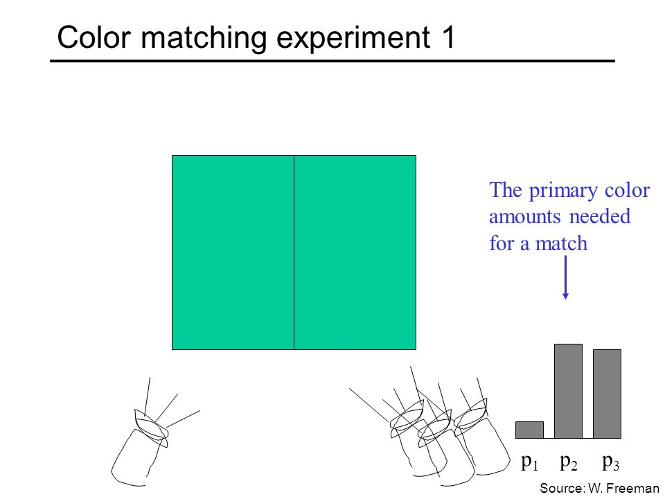 Color matching experiment 1 p 1 p 2 p 3 The primary color amounts needed for a match Source: W. Freeman