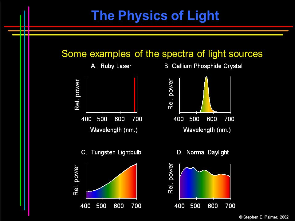The Physics of Light Some examples of the spectra of light sources © Stephen E.