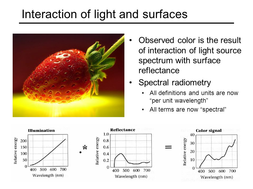 Interaction of light and surfaces Observed color is the result of interaction of light source spectrum with surface reflectance Spectral radiometry Al