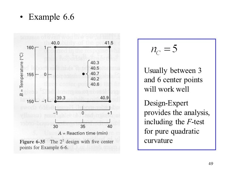 49 Example 6.6 Usually between 3 and 6 center points will work well Design-Expert provides the analysis, including the F-test for pure quadratic curva