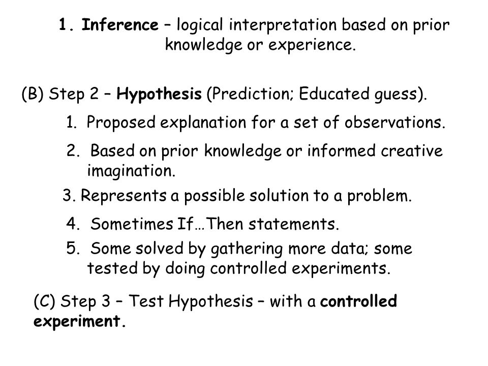 1.Important parts of an experiment a. Test one variable at a time …if possible.