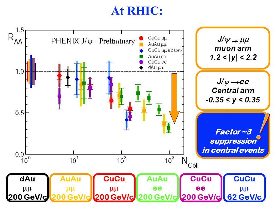 At RHIC: CuCu  200 GeV/c AuAu  200 GeV/c dAu  200 GeV/c AuAu ee 200 GeV/c CuCu ee 200 GeV/c J/   muon arm 1.2 < |y| < 2.2 J/  ee Central arm