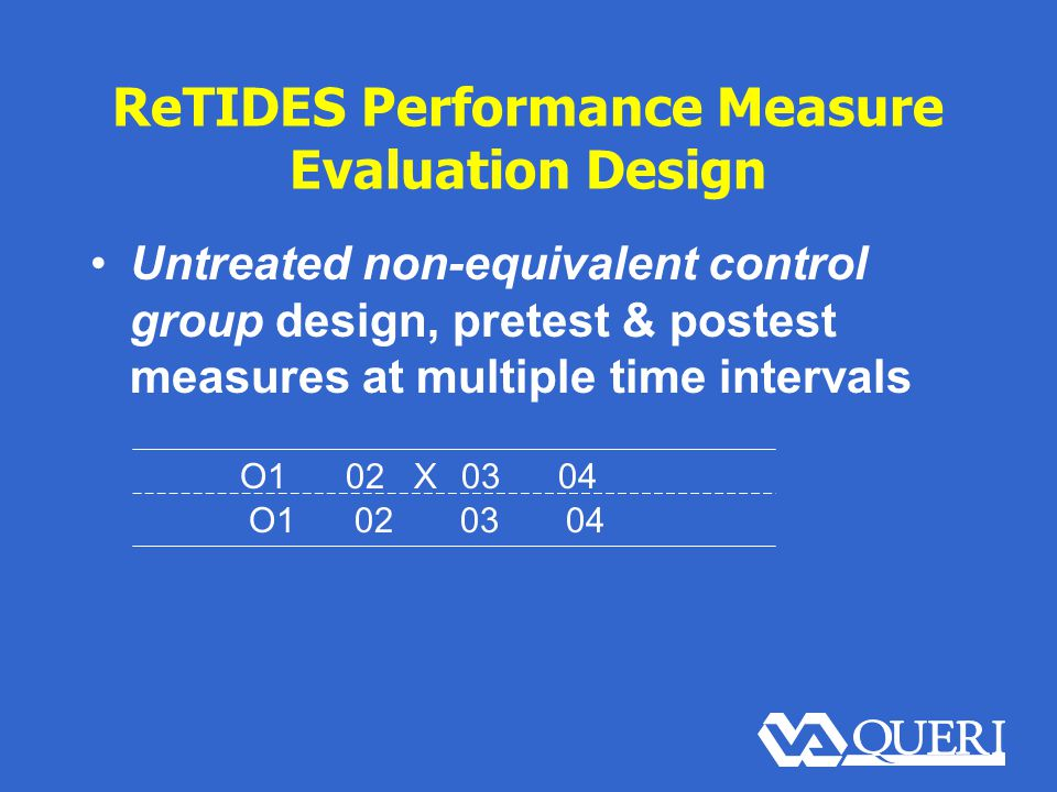 ReTIDES Performance Measure Evaluation Design Untreated non-equivalent control group design, pretest & postest measures at multiple time intervals O102 X 03 04 O1020304