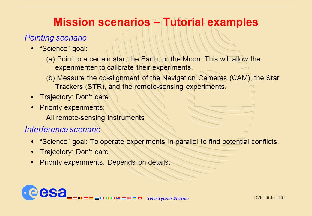 Solar System Division DVK, 10 Jul 2001 Mission scenarios – Tutorial examples Pointing scenario  Science goal: (a) Point to a certain star, the Earth, or the Moon.
