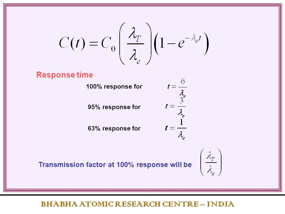100% response for 95% response for 63% response for Response time Transmission factor at 100% response will be BHABHA ATOMIC RESEARCH CENTRE – INDIA