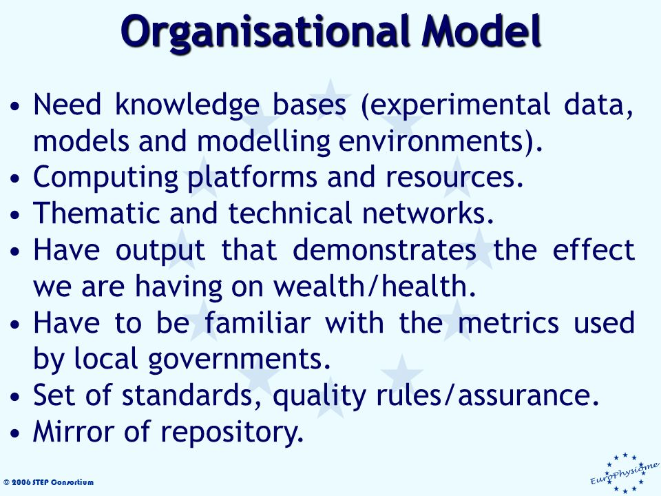 © 2006 STEP Consortium Need knowledge bases (experimental data, models and modelling environments).