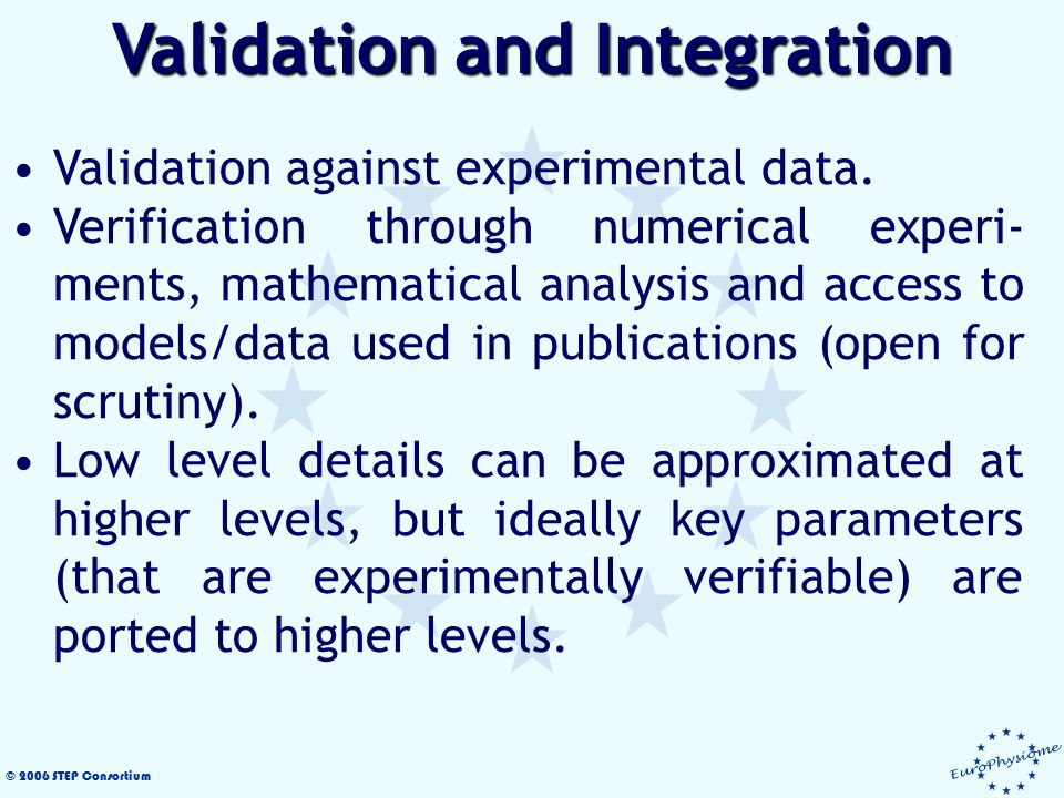 © 2006 STEP Consortium Validation against experimental data. Verification through numerical experi- ments, mathematical analysis and access to models/
