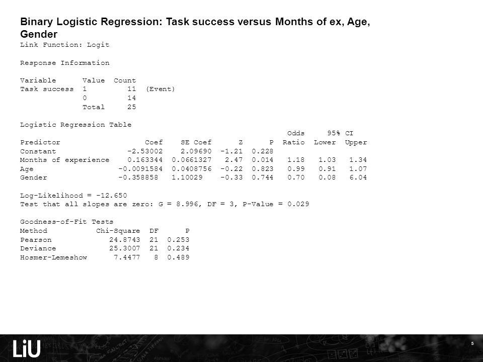 5 Binary Logistic Regression: Task success versus Months of ex, Age, Gender Link Function: Logit Response Information Variable Value Count Task succes