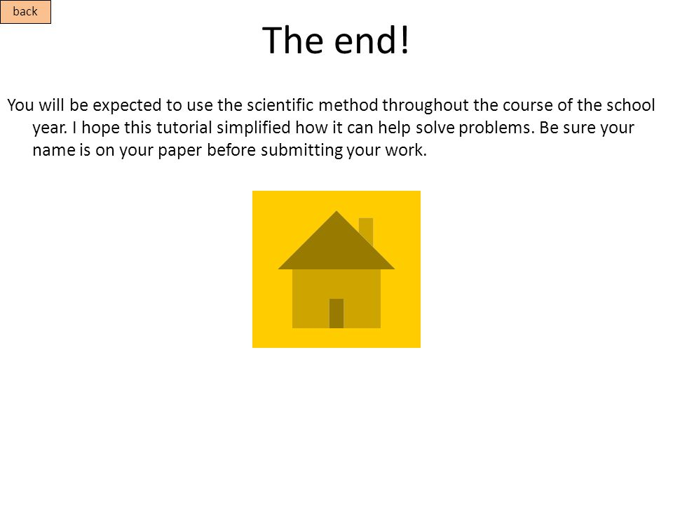 The end! You will be expected to use the scientific method throughout the course of the school year. I hope this tutorial simplified how it can help s