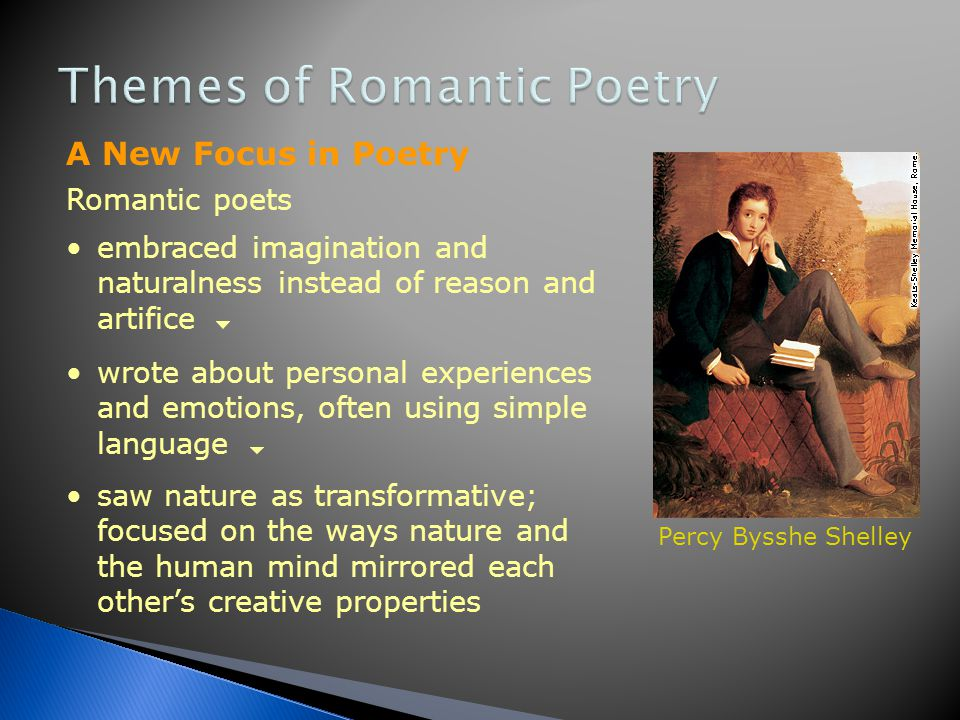 Romantic comes from the word romance. A medieval romance is a tale of high adventure that idealizes knightly virtues and has supernatural elements. Ro