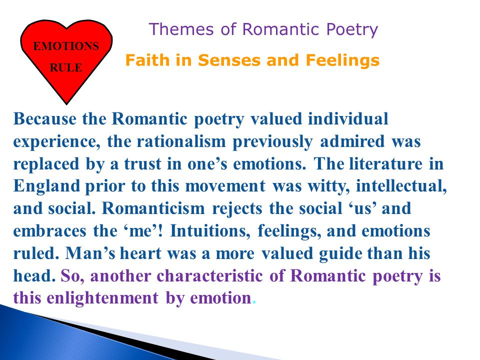 Some Romantics dreamed that poetry could offer an example of model behavior to improve horrific social conditions: Undemocratic governments Dangerous