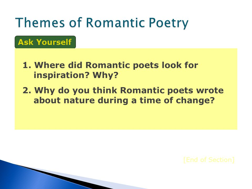 The Romantics searched for personal experiences and strove to communicate their power in meaningful ways. To achieve this, the Romantic writers employ