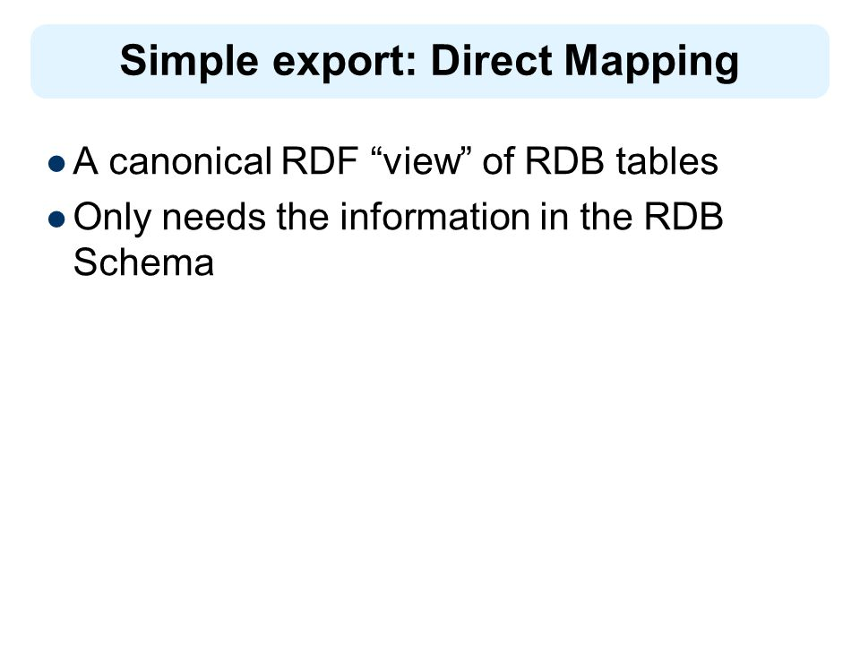 A canonical RDF view of RDB tables Only needs the information in the RDB Schema Simple export: Direct Mapping