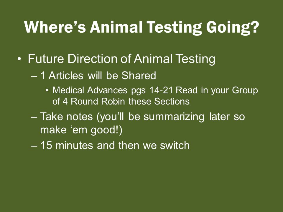 Where's Animal Testing Going.