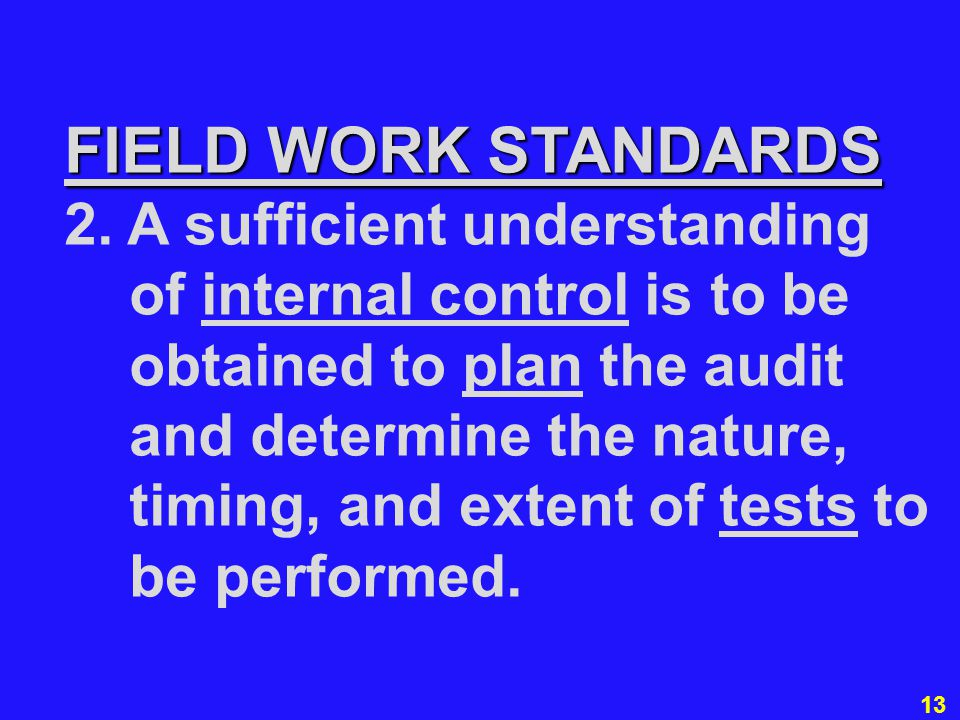 13 FIELD WORK STANDARDS 2. A sufficient understanding of internal control is to be obtained to plan the audit and determine the nature, timing, and ex