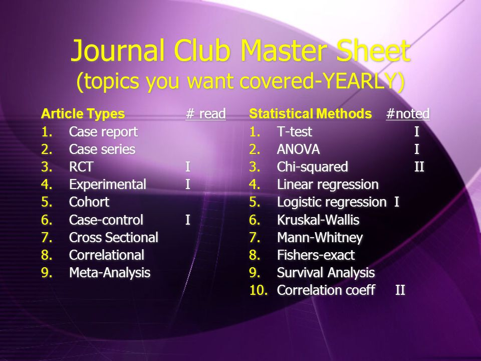 Journal Club Master Sheet (topics you want covered-YEARLY) Article Types # read 1.Case report 2.Case series 3.RCTI 4.ExperimentalI 5.Cohort 6.Case-controlI 7.Cross Sectional 8.Correlational 9.Meta-Analysis Article Types # read 1.Case report 2.Case series 3.RCTI 4.ExperimentalI 5.Cohort 6.Case-controlI 7.Cross Sectional 8.Correlational 9.Meta-Analysis Statistical Methods #noted 1.T-test I 2.ANOVA I 3.Chi-squared II 4.Linear regression 5.Logistic regression I 6.Kruskal-Wallis 7.Mann-Whitney 8.Fishers-exact 9.Survival Analysis 10.Correlation coeff II Statistical Methods #noted 1.T-test I 2.ANOVA I 3.Chi-squared II 4.Linear regression 5.Logistic regression I 6.Kruskal-Wallis 7.Mann-Whitney 8.Fishers-exact 9.Survival Analysis 10.Correlation coeff II