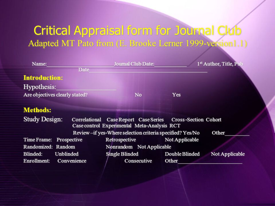 Critical Appraisal form for Journal Club Adapted MT Pato from (E.
