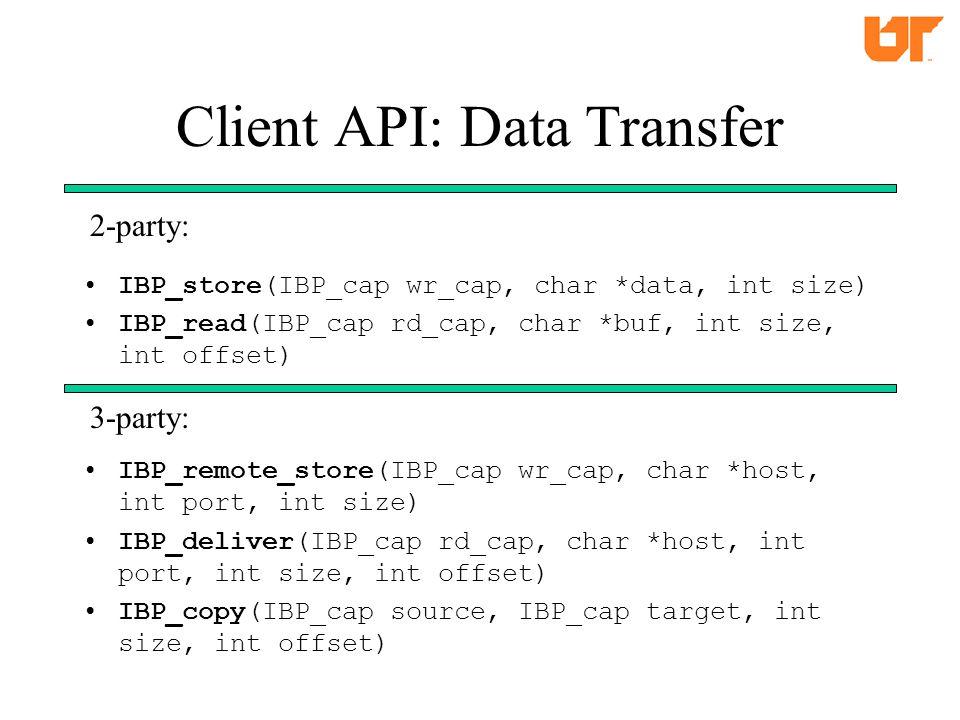 Client API: Data Transfer IBP_store(IBP_cap wr_cap, char *data, int size) IBP_read(IBP_cap rd_cap, char *buf, int size, int offset) IBP_remote_store(IBP_cap wr_cap, char *host, int port, int size) IBP_deliver(IBP_cap rd_cap, char *host, int port, int size, int offset) IBP_copy(IBP_cap source, IBP_cap target, int size, int offset) 2-party: 3-party: