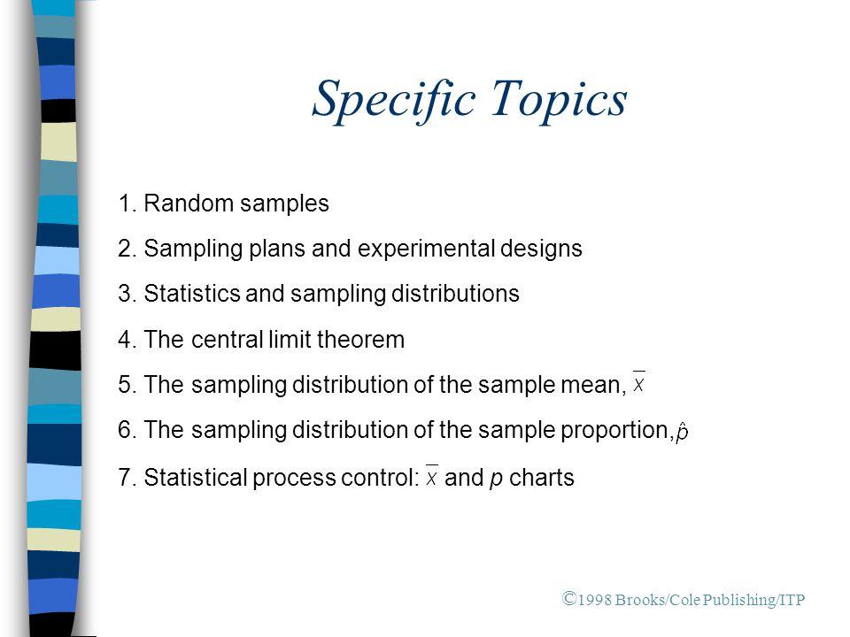 Specific Topics 1.Random samples 2. Sampling plans and experimental designs 3.