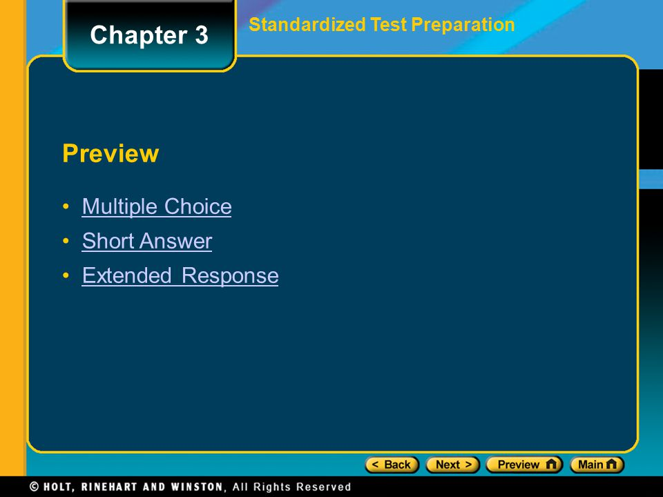 Preview Multiple Choice Short Answer Extended Response Standardized Test Preparation Chapter 3