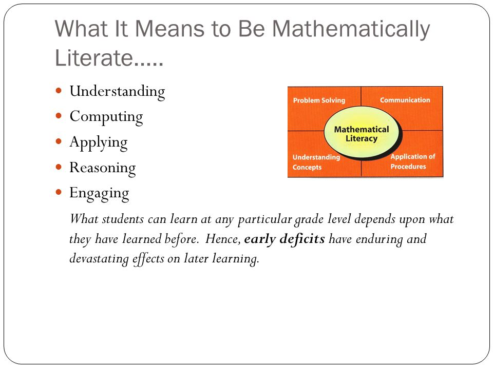 What It Means to Be Mathematically Literate…..