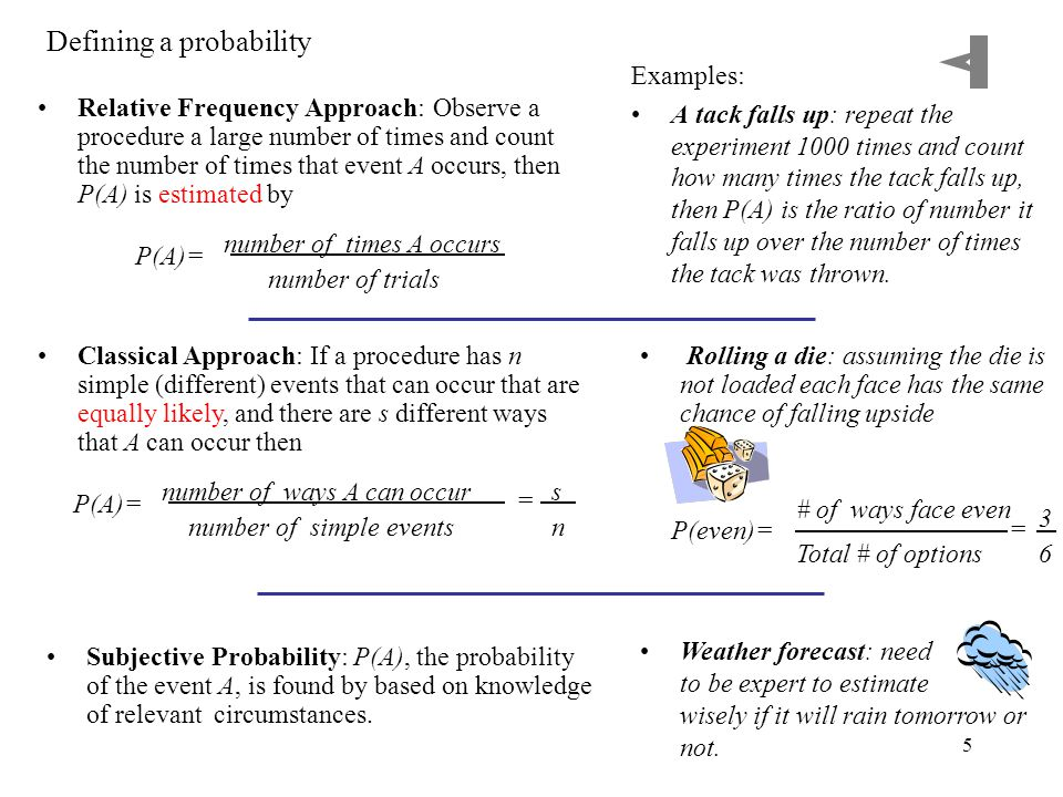 5 Defining a probability Relative Frequency Approach: Observe a procedure a large number of times and count the number of times that event A occurs, then P(A) is estimated by Examples: A tack falls up: repeat the experiment 1000 times and count how many times the tack falls up, then P(A) is the ratio of number it falls up over the number of times the tack was thrown.