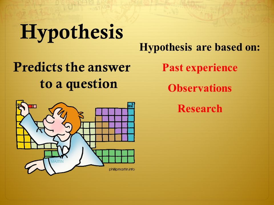 Hypothesis Predicts the answer to a question Hypothesis are based on: Past experience Observations Research