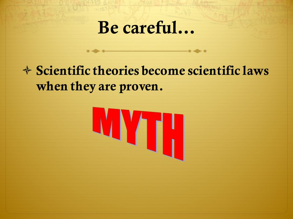Be careful…  Scientific theories become scientific laws when they are proven.