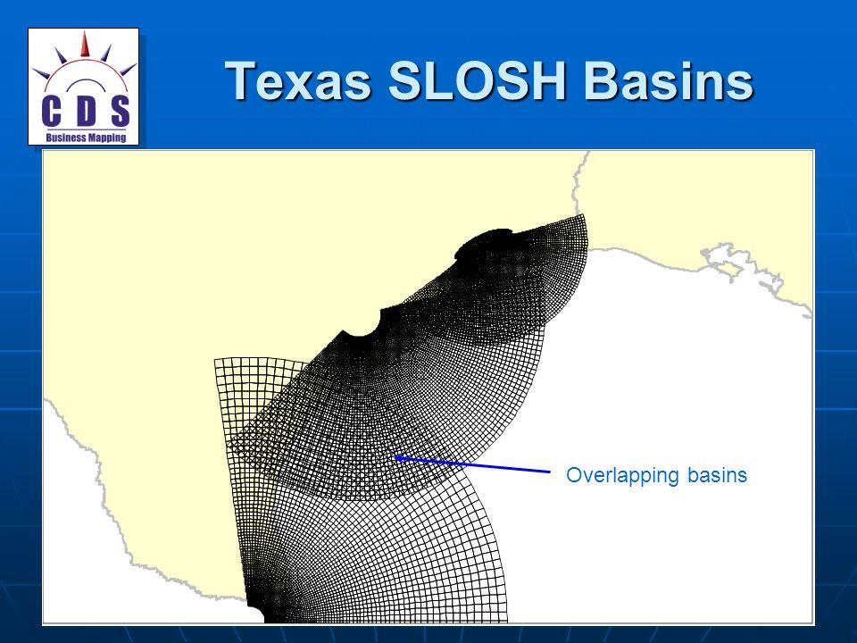 Texas SLOSH Basins Overlapping basins