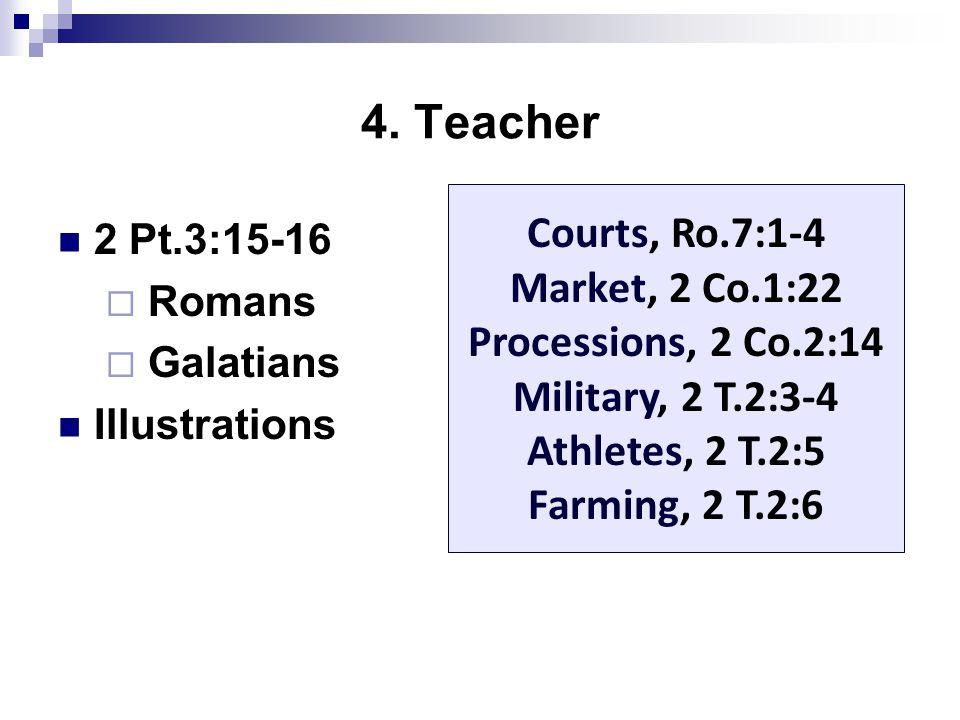 4. Teacher 2 Pt.3:15-16  Romans  Galatians Illustrations Courts, Ro.7:1-4 Market, 2 Co.1:22 Processions, 2 Co.2:14 Military, 2 T.2:3-4 Athletes, 2 T