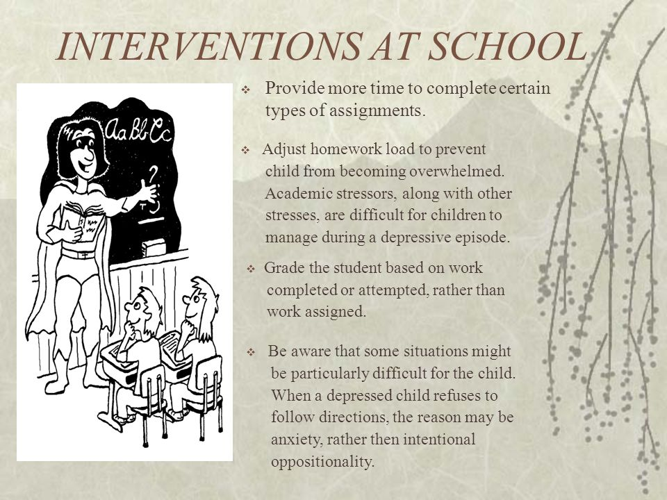 INTERVENTIONS AT SCHOOL  Provide more time to complete certain types of assignments.