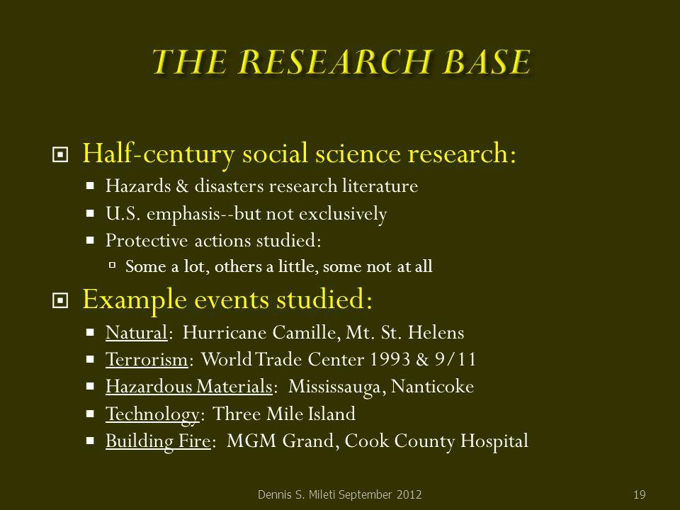  Half-century social science research:  Hazards & disasters research literature  U.S.