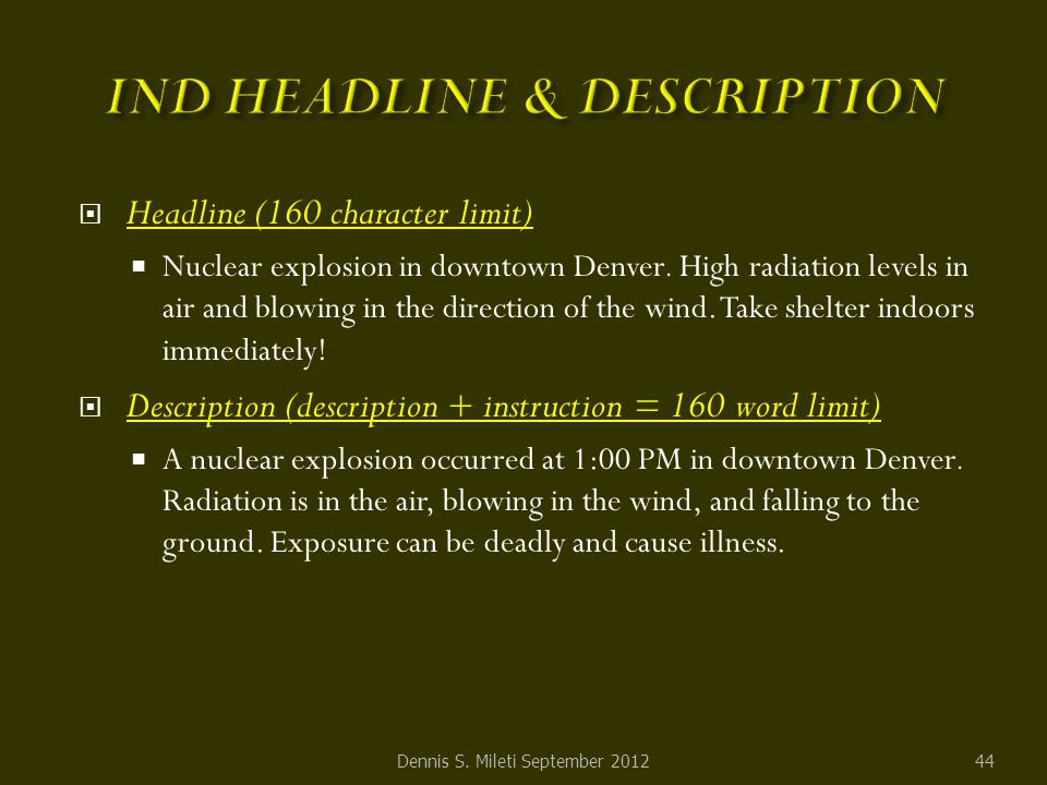  Headline (160 character limit)  Nuclear explosion in downtown Denver.