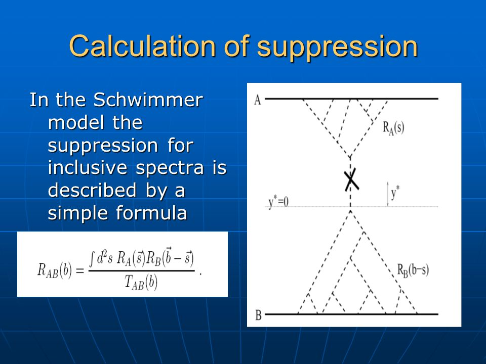 Calculation of suppression In the Schwimmer model the suppression for inclusive spectra is described by a simple formula