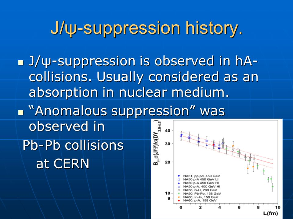 J/ψ-suppression history. J/ψ-suppression is observed in hA- collisions. Usually considered as an absorption in nuclear medium. J/ψ-suppression is obse