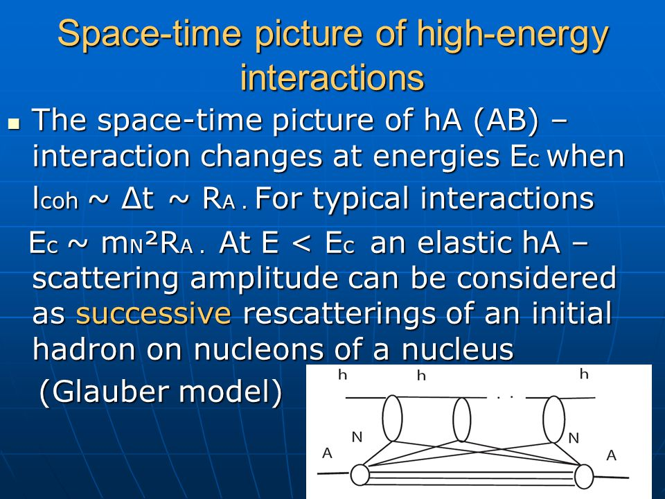 Space-time picture of high-energy interactions The space-time picture of hA (AB) – interaction changes at energies E c when l coh ~ Δt ~ R A. For typi