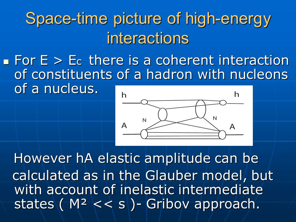 Space-time picture of high-energy interactions For E > E c there is a coherent interaction of constituents of a hadron with nucleons of a nucleus. For