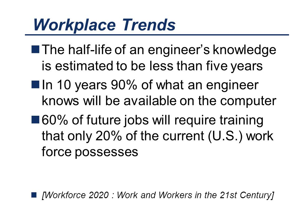 Workplace Trends The half-life of an engineer's knowledge is estimated to be less than five years In 10 years 90% of what an engineer knows will be av