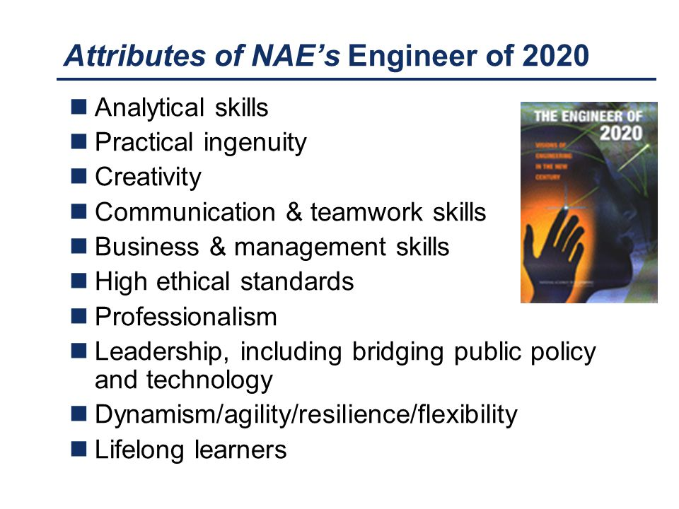 Attributes of NAE's Engineer of 2020 Analytical skills Practical ingenuity Creativity Communication & teamwork skills Business & management skills Hig