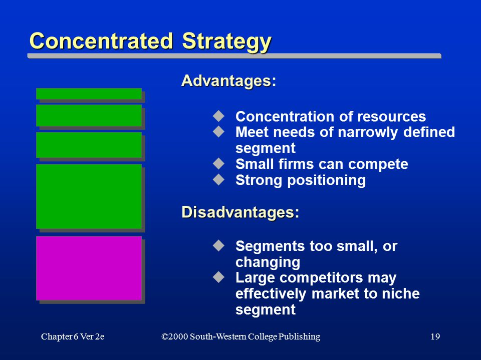Chapter 6 Ver 2e19 Concentrated Strategy Advantages Advantages:  Concentration of resources  Meet needs of narrowly defined segment  Small firms ca