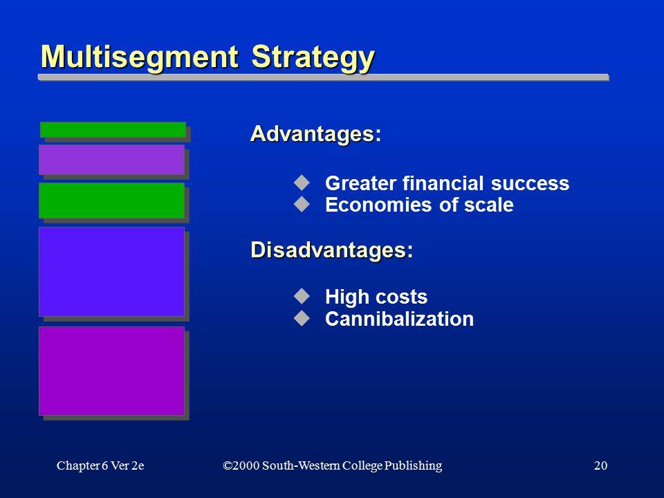 Chapter 6 Ver 2e20 Multisegment Strategy Advantages Advantages:  Greater financial success  Economies of scale Disadvantages Disadvantages:  High c