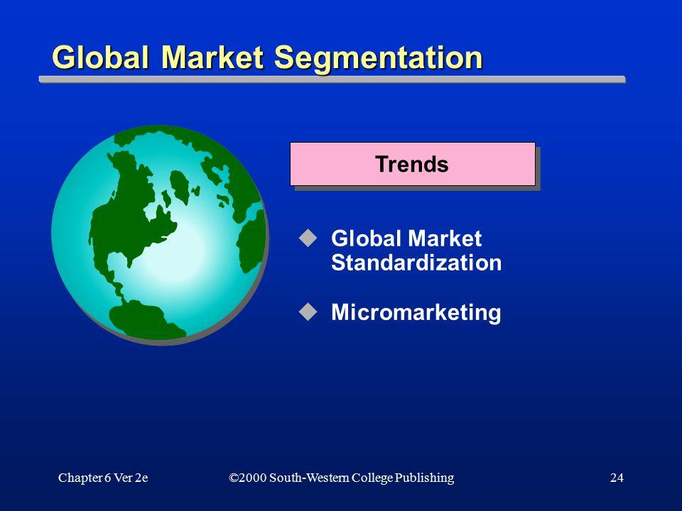 Chapter 6 Ver 2e24 Global Market Segmentation  Global Market Standardization  Micromarketing Trends ©2000 South-Western College Publishing