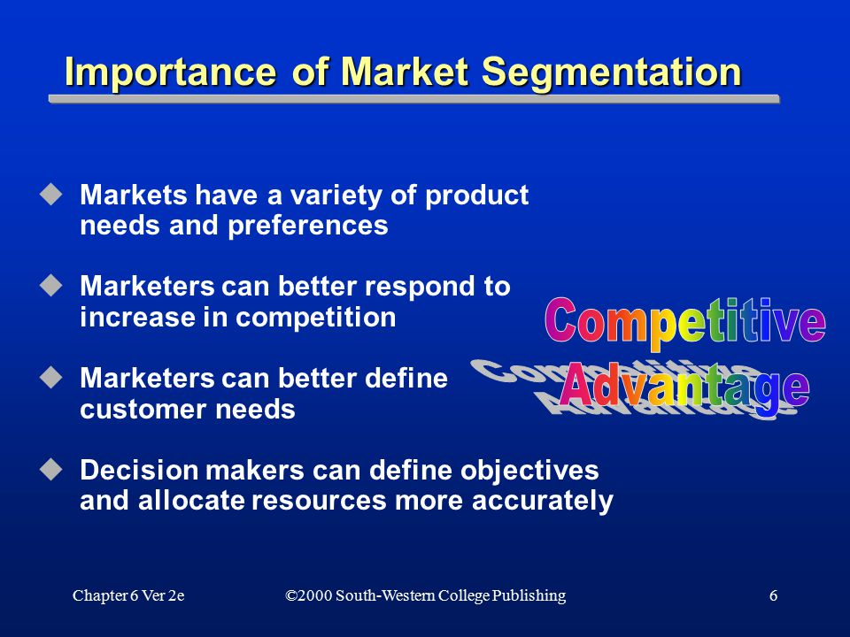 Chapter 6 Ver 2e6 Importance of Market Segmentation  Markets have a variety of product needs and preferences  Marketers can better respond to increa
