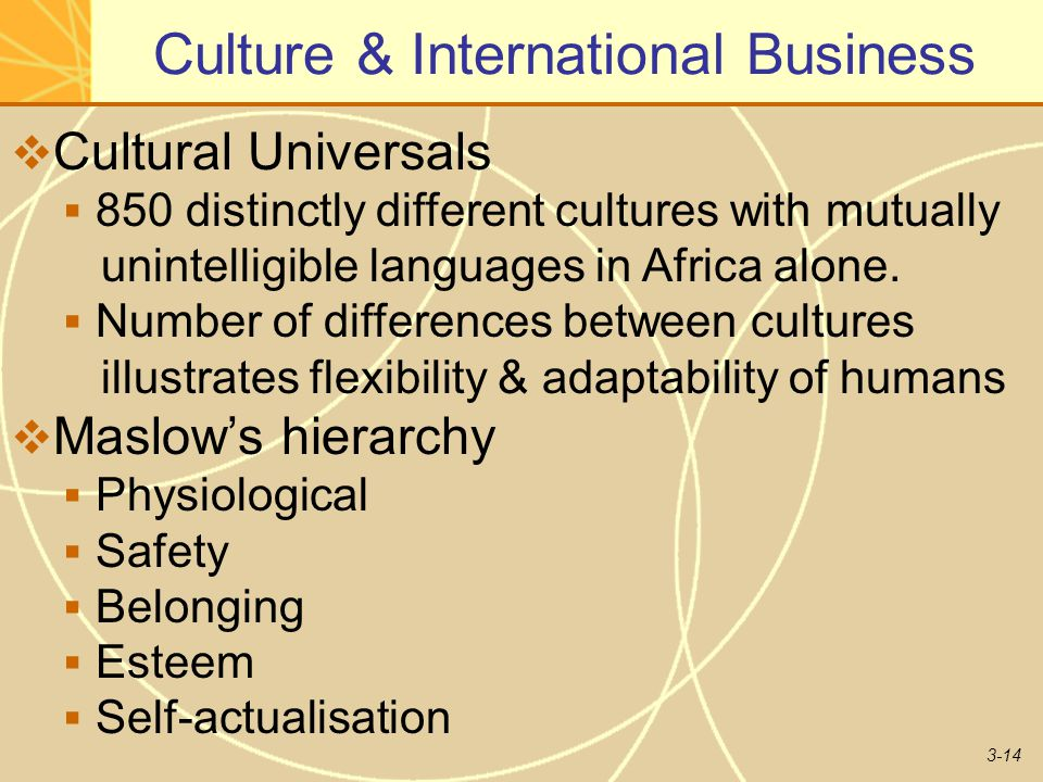 3-14 Culture & International Business  Cultural Universals  850 distinctly different cultures with mutually unintelligible languages in Africa alone.