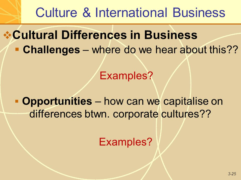 3-25 Culture & International Business  Cultural Differences in Business  Challenges – where do we hear about this?.