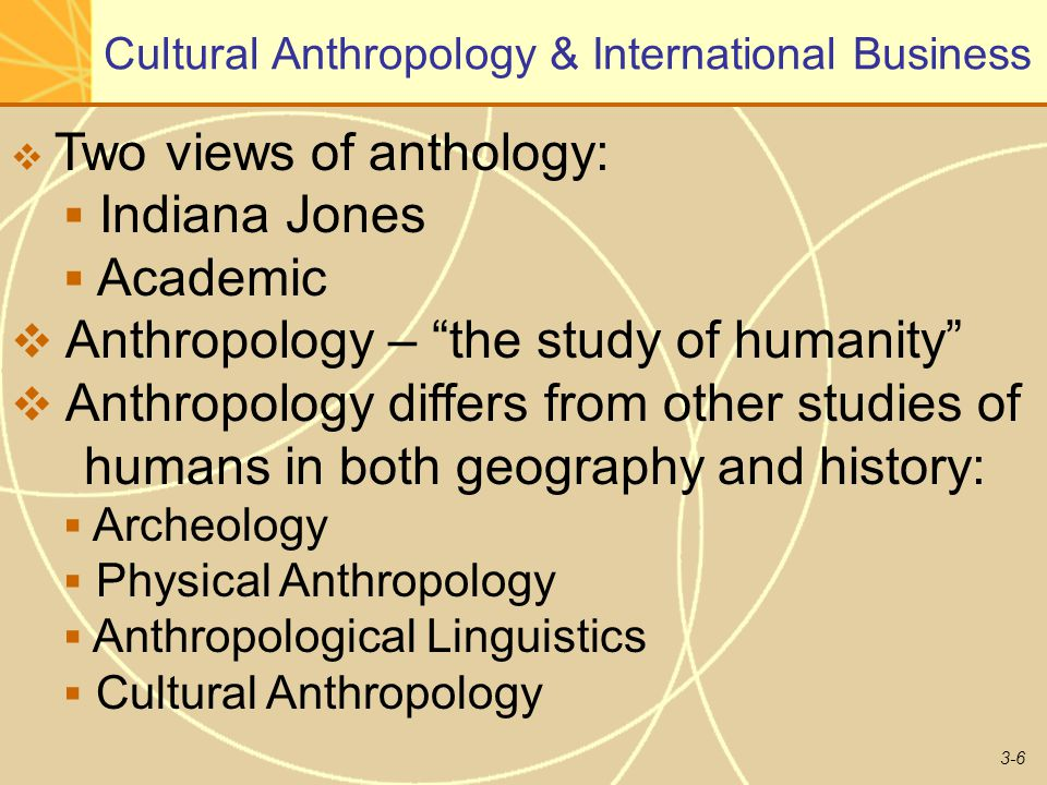 3-6 Cultural Anthropology & International Business  Two views of anthology:  Indiana Jones  Academic  Anthropology – the study of humanity  Anthropology differs from other studies of humans in both geography and history:  Archeology  Physical Anthropology  Anthropological Linguistics  Cultural Anthropology